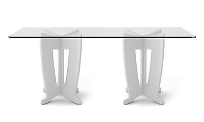 Manhattan Comfort Jane 2.0 Sleek Tempered Glass Table Top, White (105452)