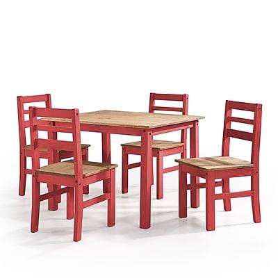 Manhattan Comfort Maiden 5-Piece Solid Wood Dining Set, Red (CS18203)