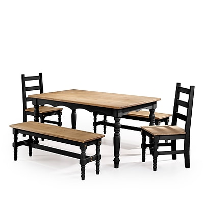 Manhattan Comfort Jay 5-Piece Solid Wood Dining Set, Black (CSJ207)