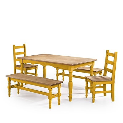 Manhattan Comfort Jay 5-Piece Solid Wood Dining Set, Yellow (CSJ202)