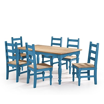Manhattan Comfort Jay 7-Piece Solid Wood Dining Set, Blue (CSJ301)