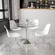39.25'' Round Glass Table with 29''H Chrome Base [CH-8-GG]