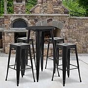 24'' Round Black Metal Indoor-Outdoor Bar Table Set with 4 Square Seat Backless Barstools (CH-51080BH-4-30SQST-BK-GG)
