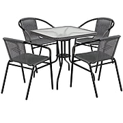 28'' Square Glass Metal Table with Gray Rattan Edging and 4 Gray Rattan Stack Chairs (TLH-073SQ-037GY4-GG)