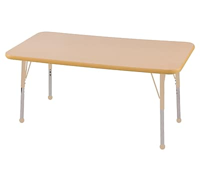 "ECR4Kids T-Mold Adjustable 48""L x 24""W Rectangle Laminate Activity Table Maple/Maple/Sand (ELR-14107-MMSD-TB)"