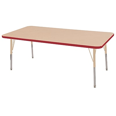 "ECR4Kids T-Mold Adjustable 60""L x 24""W Rectangle Laminate Activity Table Maple/Red/Sand (ELR-14108-MRDSD-TS)"