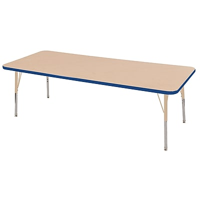 "ECR4Kids T-Mold Adjustable 72""L x 24""W Rectangle Laminate Activity Table Maple/Blue/Sand (ELR-14109-MBLSD-SS)"