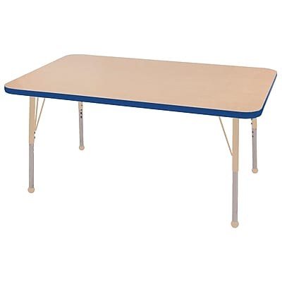 "ECR4Kids T-Mold Adjustable 48""L x 30""W Rectangle Laminate Activity Table Maple/Blue/Sand (ELR-14110-MBLSD-SB)"
