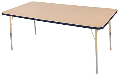 "ECR4Kids T-Mold Adjustable 72""L x 36""W Rectangle Laminate Activity Table Maple/Navy/Sand (ELR-14113-MNVSD-SB)"