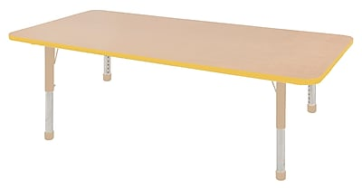 """ECR4Kids T-Mold Adjustable 72""""L x 36""""W Rectangle Laminate Activity Table Maple/Yellow/Sand (ELR-14113-MYESD-C)"""