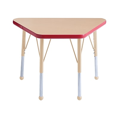 """ECR4Kids T-Mold Adjustable 30""""L x 18""""W Trapezoid Laminate Activity Table Maple/Red/Sand (ELR-14118-MRDSD-TB)"""