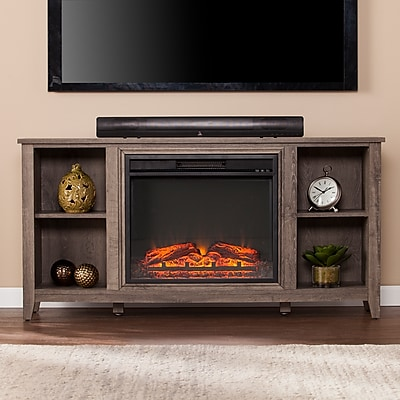 Southern Enterprises Parkdale Electric Fireplace TV Stand, Mocha Gray (FP9691)