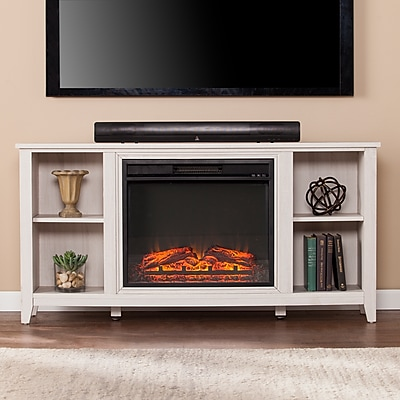 Southern Enterprises Parkdale Electric Fireplace TV Stand, White (FP9693)