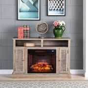 Southern Enterprises Antebellum Infrared Fireplace TV Stand, Burnt Oak (FI9335)