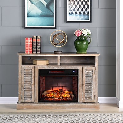 Southern Enterprises Antebellum Infrared Fireplace TV Stand, Burnt Oak (FI9335)