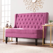Southern Enterprises Linklea High-Back Tufted Settee Bench, Fuchsia (UP9355)