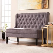 Southern Enterprises Linklea High-Back Tufted Settee Bench, Charcoal (UP9350)