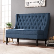 Southern Enterprises Linklea High-Back Tufted Settee Bench, Navy (UP9357)