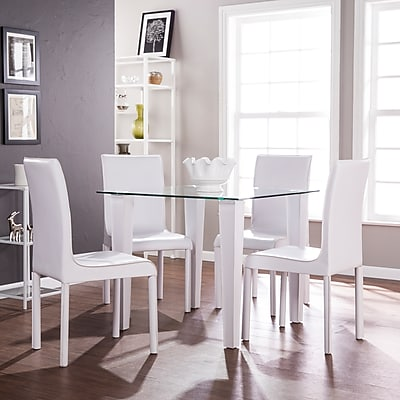 Southern Enterprises Perry 5 Piece Square Small Space Dining Set, Glass with White (DN0645)