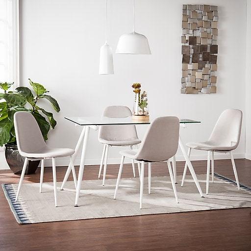 Enjoyable Southern Enterprises Haynes Dining Table And Chairs 5 Piece Set White With Gray Dn0655 Download Free Architecture Designs Scobabritishbridgeorg