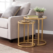 Southern Enterprises Evelyn Glam Nesting Side Table 2 Piece Set, Gold (CK4292)
