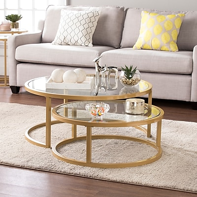 Southern Enterprises Evelyn Glam Nesting Cocktail Table 2 Piece Set, Gold (CK4290)