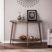 Southern Enterprises Chandler Demilune Console Table with Glass Top, Burnt Oak (CK0183)