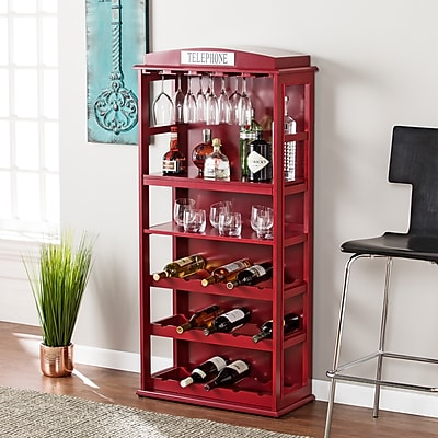 Southern Enterprises Phone Booth Bar Cabinet with Wine Storage, Rich Burgundy Red (HZ7630)