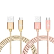 Durable Braided Micro USB Cables for Android Smartphones, Samsung, LG 10 foot  set of 2 - Gold + Rose Gold