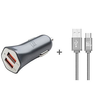 Durable Braided Micro USB Cable with Dual USB Car Charger for Android Smartphones (10ft) - Gray