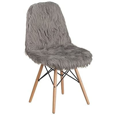 Flash Furniture Faux Fur Charcoal Gray Shaggy Chair (4DL16)