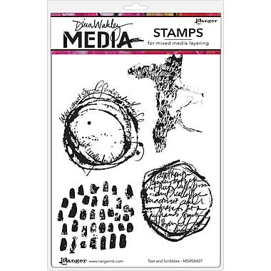 Ranger Text & Scribbles Dina Wakley Media Cling Stamps, 6