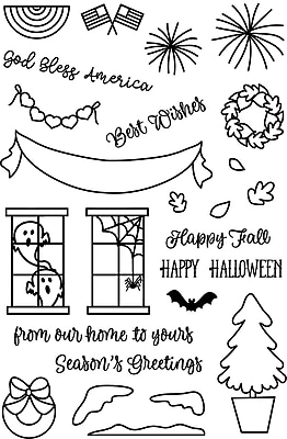Avery Elle Welcome Home Seasons Clear Stamp Set, 4