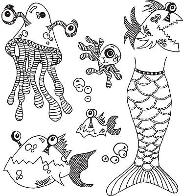Ranger Plenty More Fish In The Sea Dyan Reaveley's Dylusions Cling Stamp Collections, 8.5