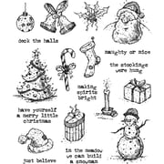 """Stampers Anonymous Tattered Christmas Tim Holtz Cling Stamps, 7"""" x 8.5"""" (CMS-LG-318)"""