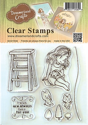 DreamerlandCrafts Friends Are Always There For You Clear Stamp Set, 4