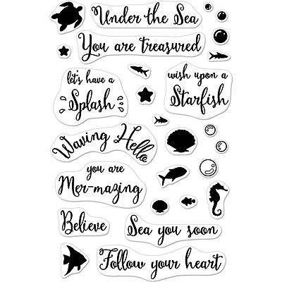 Hero Arts Mer-Mazing Messages Clear Stamps, 4