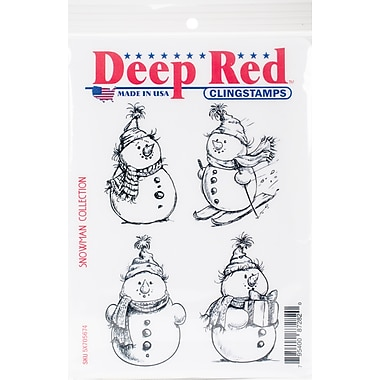 Deep Red Stamps, Snowman Collection Cling Stamp, 4