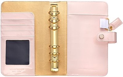 Webster's Pages Patent Petal Pink Color Crush Faux Leather Personal Planner Binder, 5.25