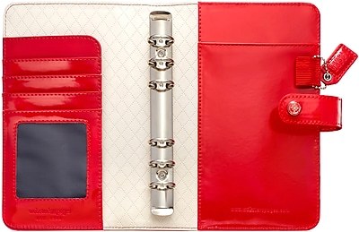 Webster's Pages Patent Red Color Crush Faux Leather Personal Planner Binder, 5.25