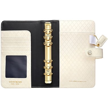 Webster's Pages Diamond White Color Crush Faux Leather Personal Planner Binder, 5.25