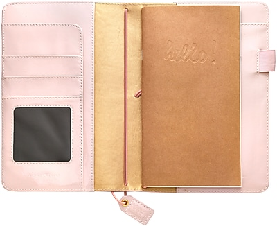 Webster's Pages Patent Petal Pink Color Crush Faux Leather Travelers' Planner, 5.75