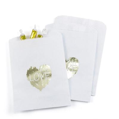 Hortense B. Hewitt Brush of Love Treat Bags, White, 25 Pack (42268ST)