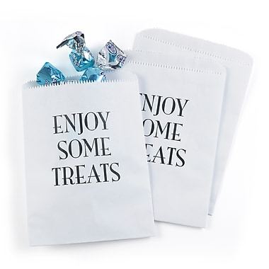 Hortense B. Hewitt Enjoy Some Treats Treat Bags, White, 25 Pack (42276ST)