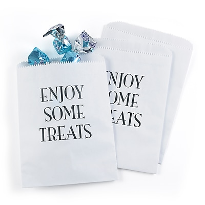 Hortense B. Hewitt Enjoy Some Treats Treat Bags, White, 25 Pack (42276ST)