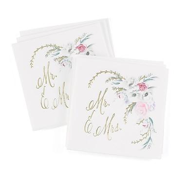 Hortense B. Hewitt Ethereal Floral Beverage Napkins, White, 50 Pack (55131ST)