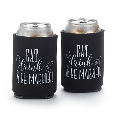 Hortense B. Hewitt Eat, Drink, Be Married Can Coolers, Black, Set of 2 (55137ST)
