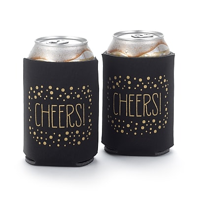 Hortense B. Hewitt Polka Dot Can Coolers, Black, Set of 2 (55140ST)