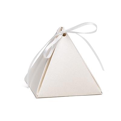 Hortense B. Hewitt Pyramid Favor Box, Ecru Shimmer, 25 Pack (54881ST)