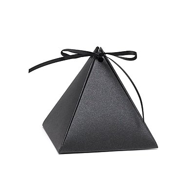 Hortense B. Hewitt Pyramid Favor Box, Black Shimmer, 25 Pack (54882ST)